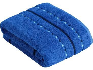Vossen Saunatuch »Atletico«, mit aufwändiger Bordüre, blau, Wirkfrottee, orbit