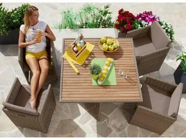MERXX Gartenmöbelset »Verona Wicker«, 9-tlg., 4 Sessel, Tisch 110x110, Polyrattan/Akazie, natur, natur