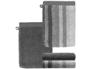 Lashuma Handtuch Set »Pure« (Set, 4-tlg), Waschlappen 4 teilig Gestreift und Uni, Saugstarke Frotteetücher 15x21 cm, grau, grau