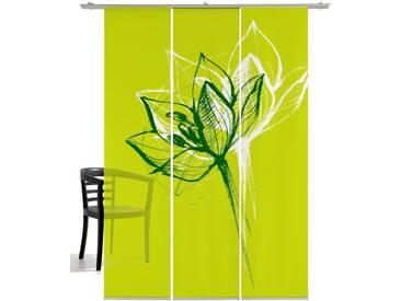 emotion textiles Schiebegardine »Blütenkopf«, Klettband (3 Stück), inkl. Beschwerungsstange, grün, Klettband, halbtransparent, grün