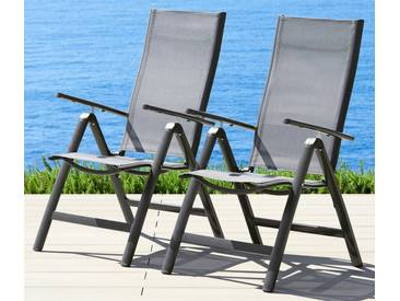 MERXX Gartenstuhl »Amalfi«, (2er Set), Alu/Textil, verstellbar, anthrazit, grau, 2 Stühle, anthrazit