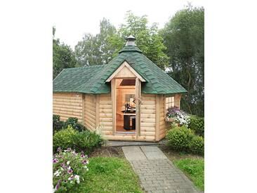 Wolff WOLFF Grillkota »9 de luxe«, BxT: 426x630 cm, mit Sauna-Anbau und grünen Schindeln, natur, natur