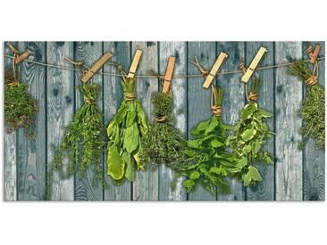 Artland Küchenrückwände »Team 5: Kräuter mit Holzoptik«, grün, 50x100 cm, Grün