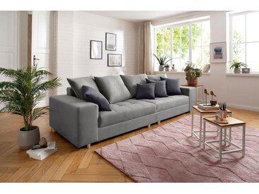 Home affaire Big-Sofa »Valena«, mit Steppung im Sitzbereich, Federkern und Zierkissen, grau, hellgrau