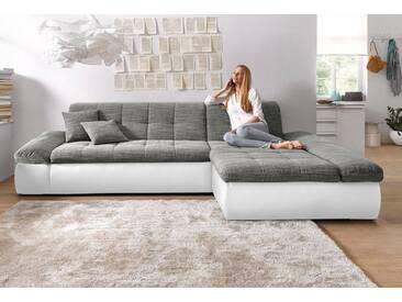 DOMO collection Ecksofa, grau, 300 cm, Recamiere rechts, weiß/weiß-grau/grau