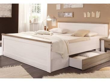 Bett, natur, Pinienfarben weiß/trüffelfarben