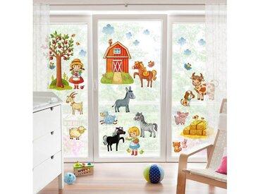Bilderwelten Fenstersticker »Kleines Bauernhof-Set«, bunt, Farbig
