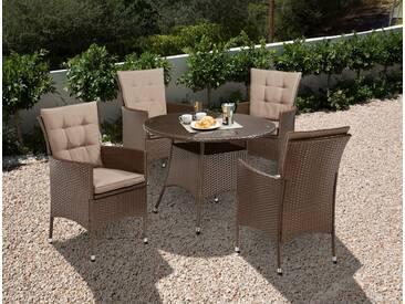 Gartenmöbelset »Santiago New«, 4 Sessel, Tisch Ø 100 cm, Polyrattan, braun, braun