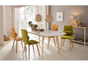 Home affaire Esstisch »Naiss« mit Auszugsfunktion und schönen Tischbeinen aus pflegeleichtem Echtholzfunier, weiß, naturfarben/weiße Tischplatte