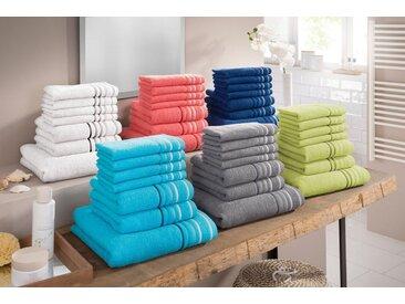 my home Handtuch Set »Niki« (Set, 7-tlg), mit Streifenbordüren (7tlg.-Set), weiß, weiß