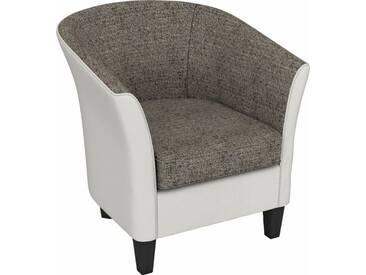 Max Winzer® build-a-chair Cocktailsessel »Luisa« in runder Form, zum Selbstgestalten, natur, Korpus: Kunstleder 20701 weiß