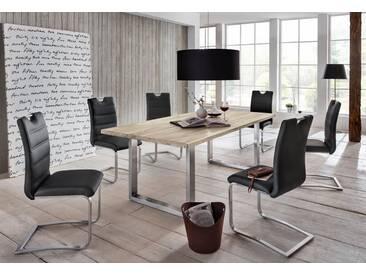 Premium collection by Home affaire Esstisch »Brooklyn«, aus massiver Wildeiche, weiß, Tischplatte außen 4 cm, innen 2 cm stark, Tischplatte: Massivholz, Tischplatte: Massivholz