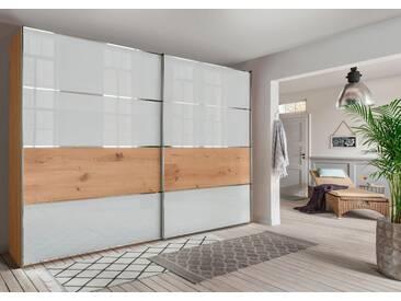 WIEMANN Schwebetürenschrank »Yukon«, Glasfront, natur, Höhe 236 cm, Breite 250 cm, 2-türig,, Balkeneiche/Weiß Glas