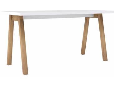 HMW Schreibtisch, weiß, weiß Hochglanz/eiche