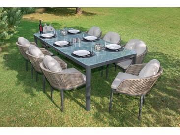 bella sole BELLASOLE Gartenmöbelset , 25-tlg., 8 Sessel, Tisch 100x78 cm, Alu/Polyrattan, schwarz, taupe/anthrazit