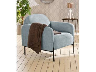 andas Sessel »Bold«, edles, skandinavisches Design, mit Stahlbeinen, blau, petrol