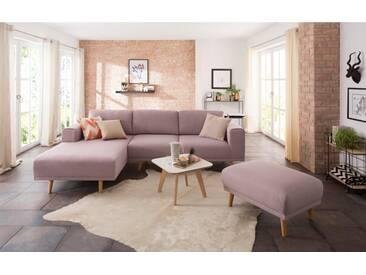 Home affaire Polsterecke »Lasse« im scandinavischen Stil mit Holzfüßen, rosa, Recamiere links, rosé