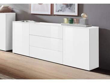 borchardt Möbel Sideboard »Savannah«, Breite 166 cm, weiß, weiß-HG/weiß-Riffel-MDF-Hochglanz