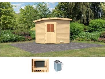 Karibu KARIBU Saunahaus »Hauke«, 231/231/226 cm, 9-KW-Ofen mit int. Steuerung, natur, 9-kW-Ofen mit integrierter Steuerung, natur