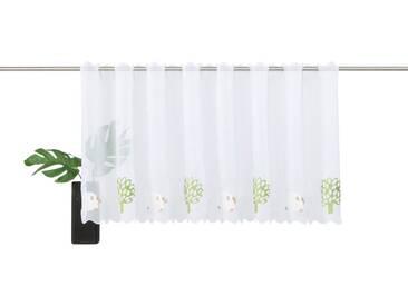 Gerster Scheibengardine »Schäfchen«, Stangendurchzug (1 Stück), weiß, Stangendurchzug, transparent, weiß-grün-braun