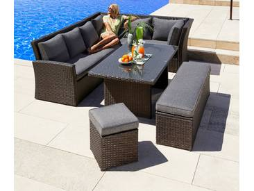 MERXX Gartenmöbelset »Mallorca«, 17-tlg., 2x 3er-Sofa, Bank, Hocker, Tisch 150x85, Polyrattan, braun, braun
