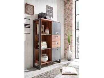 Home affaire Highboard »Detroit«, mit 2 Türen und 2 Schubladen, Höhe 140 cm, Industrial Look, braun, braun/ schieferfarben