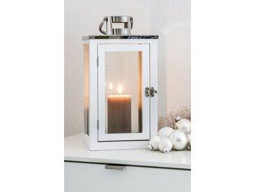 HGD Holz-Glas-Design Dekoset Laterne, Glaskugeln und Engelshaar, silberfarben, Silber