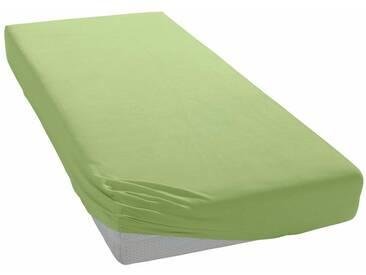 Auro Hometextile Spannbettlaken »Mako-Satin Basic Uni«, mit zartem Schimmer, grün, Mako-Satin, lindgrün