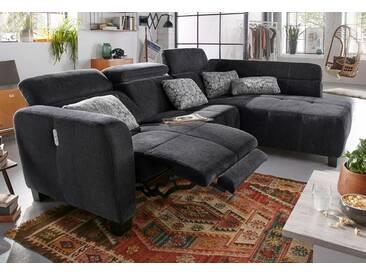 Jockenhöfer Gruppe Ecksofa, inklusive Relax- und Armlehnfunktion, schwarz, 295 cm, Ottomane beidseitig montierbar, schwarz/dunkelgrau/dekor