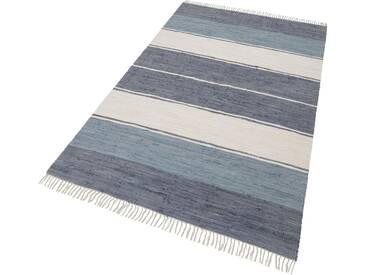 THEKO Teppich »Stripe Cotton«, rechteckig, Höhe 5 mm, beidseitig verwendbar, grau, 5 mm, anthrazit