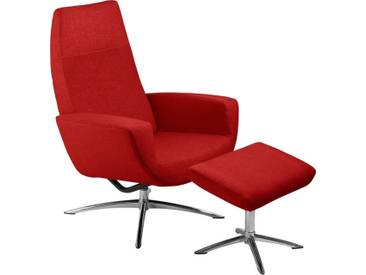 KEBE Set: Relaxsessel mit Hocker »Kantate«, mit verchromten Drehfüßen, rot, rot