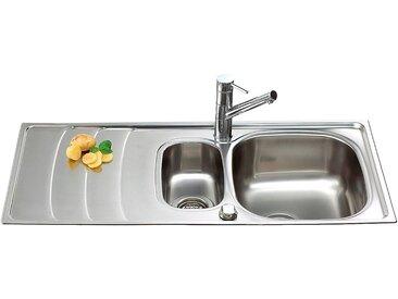 Schock Edelstahlspüle »Design«, mit Restebecken, 100x50 cm, silberfarben, mit Restebecken, silberfarben