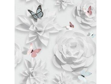 Art for the home GRAHAM & BROWN Vliestapete »Origami Florals«, 1000 cm Länge, weiß, weiß/rosa/blau