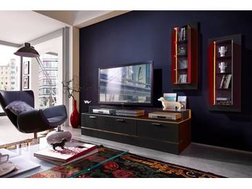 LEONARDO living TV-Bank »CUBE« für die Lowboards, mit 3 Glasfächern, Breite 189 cm, schwarz, schwarz