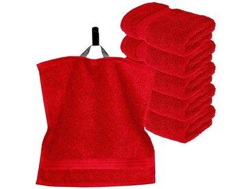 Lashuma Handtuch Set »Linz« (Set, 6-tlg), 6 Stück Kleine Gästehandtücher, Flauschige Waschlappen 30x30 cm, rot, blutrot