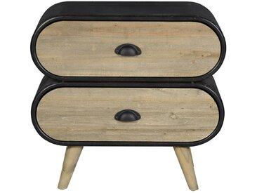 SalesFever Schubladenschrank mit 2 Schubladen aus Holz »Nero«, natur, Natur