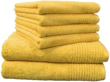 Dyckhoff Handtuch Set, »Brillant«, mit Streifenbordüre, gelb, 6tlg.-Set A (siehe Artikeltext), mais