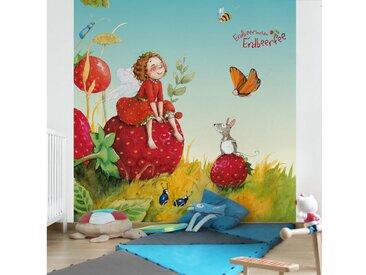 Bilderwelten Kinderzimmer Vliestapete Quadrat »Erdbeerinchen Erdbeerfee«, rot, 336x336 cm, Rot