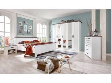 Wimex Kleiderschrank »Castell«, weiß, Breite 232 cm, 5-türig, ohne Aufbauservice, ohne Aufbauservice, weiß/schlammeichefarben