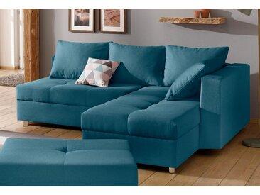 Home affaire Ecksofa »Italia«, mit Bettfunktion, grün, mit Bettfunktion-mit Bettkasten-ohne Tisch, petrol