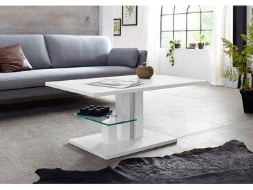INOSIGN Couchtisch »Bergamo«, höhenverstellbar, mit Glasboden, weiß, weiß