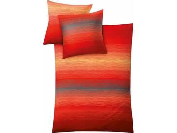 Kleine Wolke Bettwäsche »Chicago«, mit fließendem Farbverlauf, rot, 1x 155x220 cm, Mako-Satin, rot