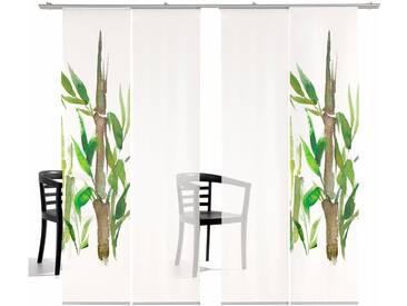 emotion textiles Schiebegardine »Bambus TR«, Klettband (4 Stück), inkl. Befestigungszubehör, grün, Klettband, transparent, grün-weiß