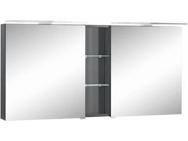 MARLIN Spiegelschrank »Sola 3130« mit LED Beleuchtung, Breite 140 cm, vormontiert, grau, anthrazit Glanz
