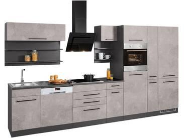 HELD MÖBEL Küchenzeile »Tulsa«, ohne E-Geräte, Breite 360 cm, grau, betonfarben