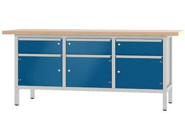 PADOR Werkbank »31 S 222/20 R«, Höhe: 85,5 cm, grau, hellgrau/blau