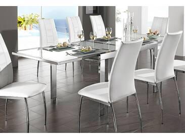 Tisch, silberfarben, Gestell: Metall, Breite 90 cm, chrom-weißglas