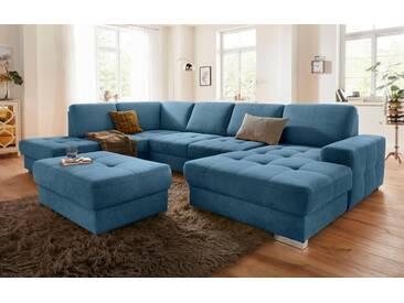 sit&more Wohnlandschaft, mit Federkern und Sitztiefenverstellung, blau, 340 cm, Recamiere rechts, azur