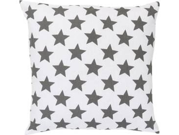 ELBERSDRUCKE Kissen, Elbersdrucke, »STARS ALLOVER« (1 Stück), weiß, Baumwolle, weiß-anthrazit