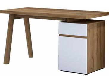 HMW Schreibtisch »Slide«, weiß, Balkeneiche/weiß